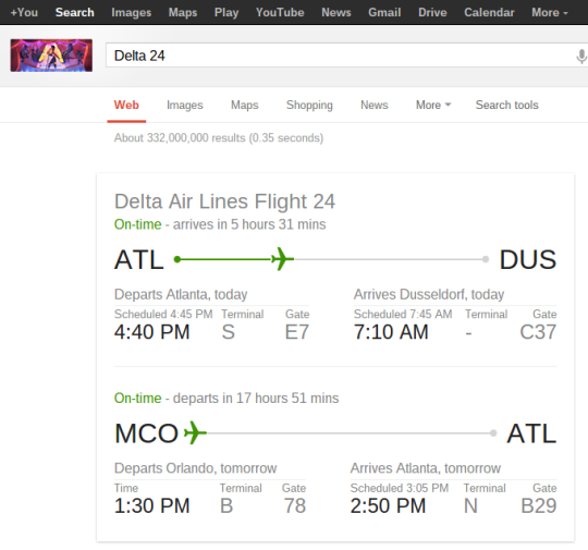 Use Google to track your flight!