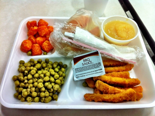 Our lunch. No color correction applied. Those tots really are orange.